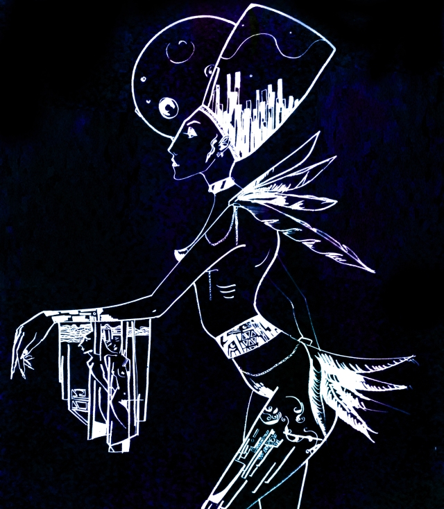 rosane chawi art dark blue drawing wall big elegant mysterious sexy goddess