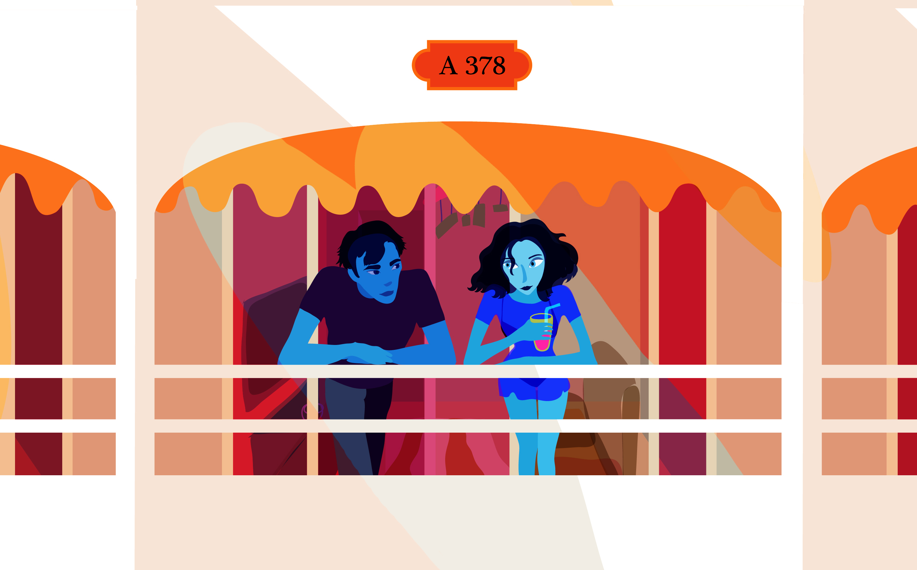 mélodie bloo hot date chalet balcony rosane chawi young love illustrator vector art illustration summer heat