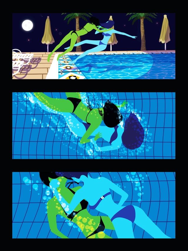 pool fight scene melodie bloo devil melanie rosane chawi hot sexy bikini