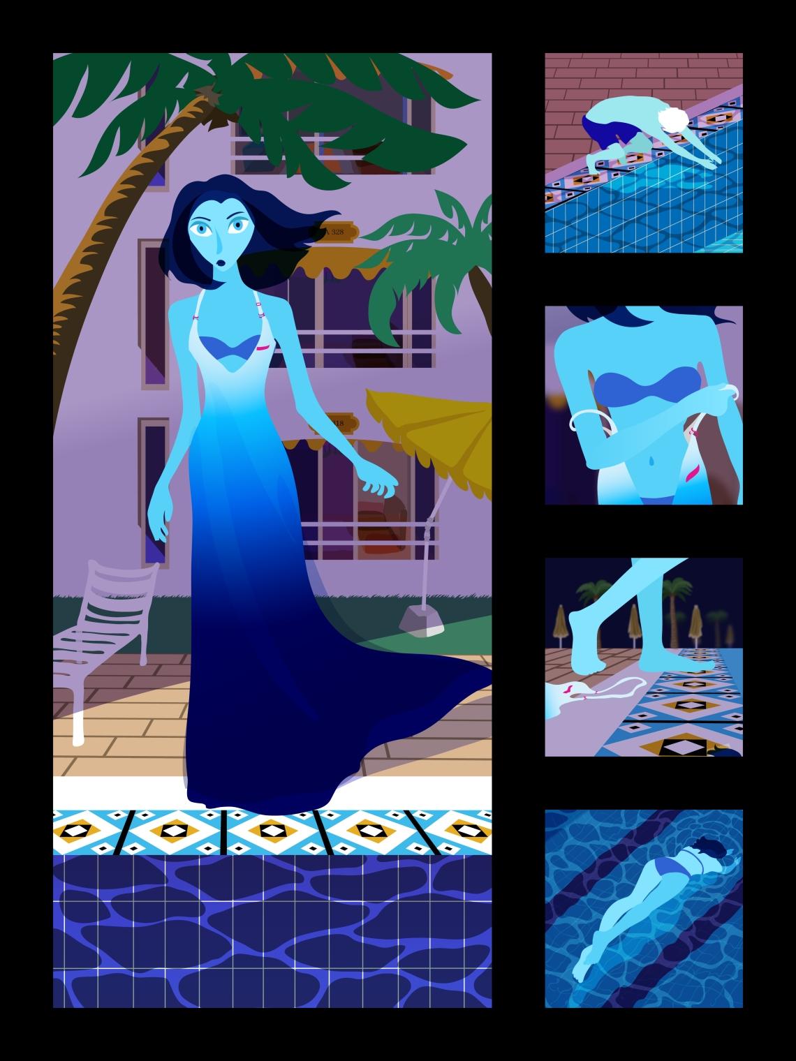 mélodie bloo Rosane Chawi pool scene swim dive woman bikini palm trees